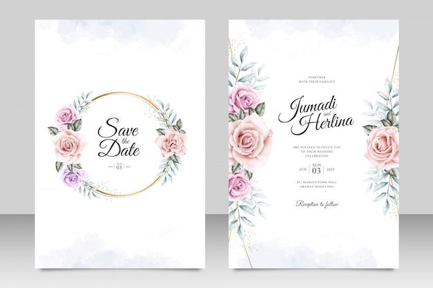 Plantilla de tarjeta de invitación de boda con acuarela floral marco dorado