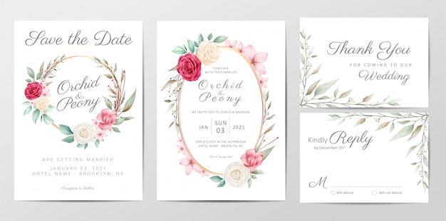 Plantilla de tarjeta de invitación de boda acuarela con flores rosas