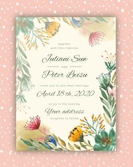 Plantilla de tarjeta de invitación de boda con acuarela de flores