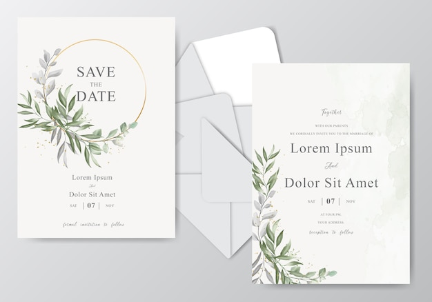 Plantilla de tarjeta de invitación de boda acuarela con hermoso follaje