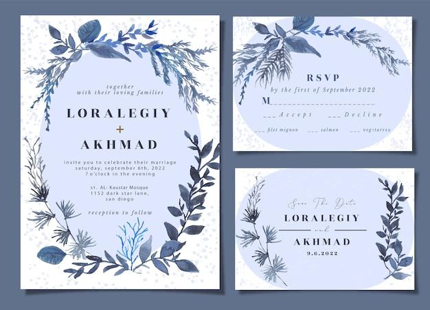 Plantilla de tarjeta de invitación de boda con acuarela de hojas azules