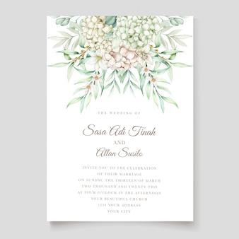 Plantilla de tarjeta de invitación de boda de acuarela de hortensia