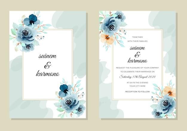 Plantilla de tarjeta de invitación de boda con acuarela índigo flor