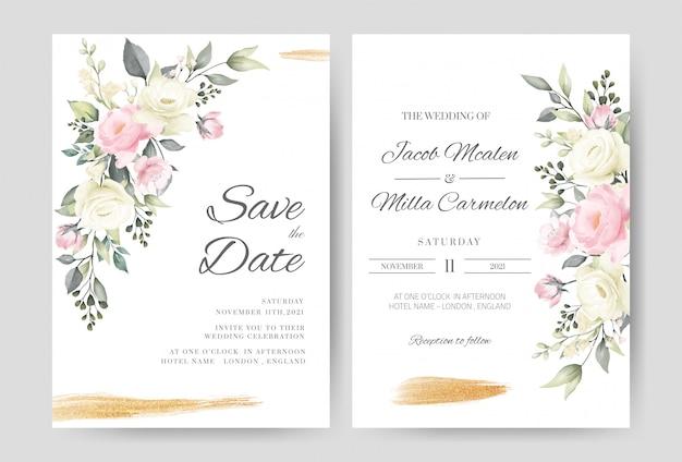 Plantilla de tarjeta de invitación de boda con acuarela rosa y pincel de oro rosa blanco.