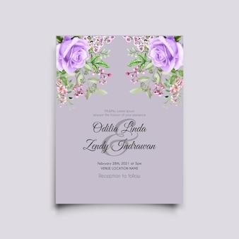 Plantilla de tarjeta de invitación de boda de acuarela de rosas púrpuras