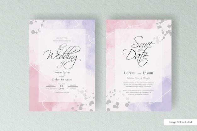 Plantilla de tarjeta de invitación de boda en acuarela simple con acuarela líquida pintada a mano y diseño de salpicaduras de acuarela abstracta