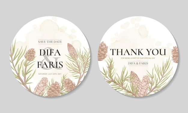 Plantilla de tarjeta de invitación de boda con adorno de cono de pino floral acuarela