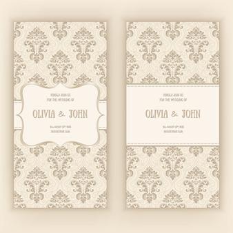 Plantilla de tarjeta de invitación de boda con adornos de damasco