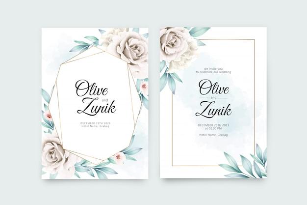 Plantilla de tarjeta de invitación de boda con aquarel floral geométrico