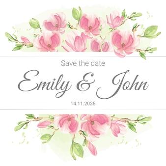 Plantilla de tarjeta de invitación de boda de arreglo floral de rama de magnolia rosa pastel acuarela