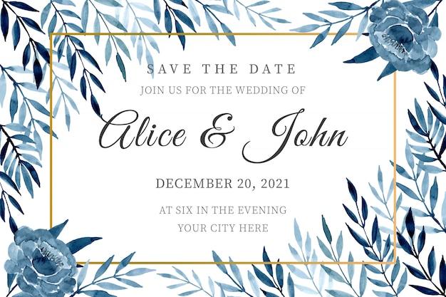 Plantilla de tarjeta de invitación de boda azul con hojas de acuarela