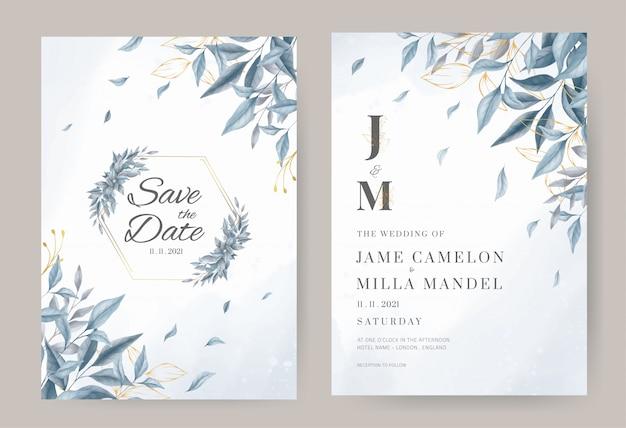 Plantilla de tarjeta de invitación de boda azul y oro deja con fondo de acuarela.