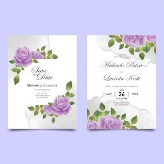 Plantilla de tarjeta de invitación de boda con bordes de ramo de flores