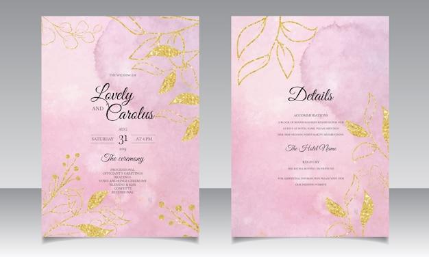 Plantilla de tarjeta de invitación de boda de borgoña acuarela con decoración de hojas doradas