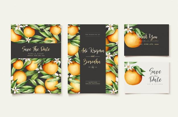 Plantilla de tarjeta de invitación de boda botánica acuarela naranja frutas