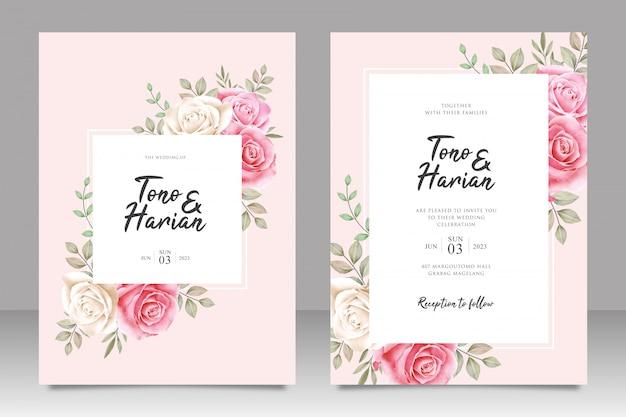 Plantilla de tarjeta de invitación de boda botánica flores rosas blancas y rosadas