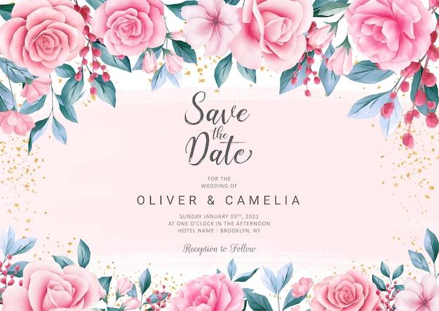 Plantilla de tarjeta de invitación de boda botánica con hermosa decoración floral acuarela