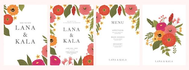 Plantilla de tarjeta de invitación de boda botánica