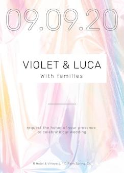 Plantilla de tarjeta de invitación de boda colorida