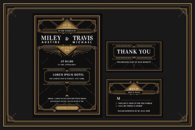 Plantilla de tarjeta de invitación de boda / compromiso art deco con color dorado con marco. estilo clásico negro premium vintage. incluya etiquetas de agradecimiento y rsvp