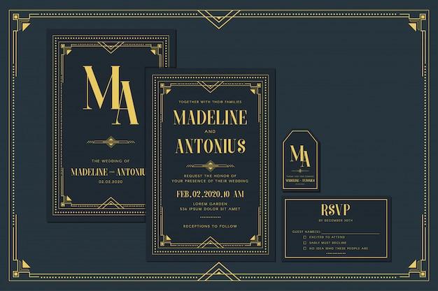 Plantilla de tarjeta de invitación de boda / compromiso art deco con color dorado con marco. estilo vintage clásico azul marino clásico. incluya etiquetas de agradecimiento y rsvp