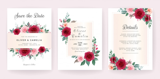 Plantilla de tarjeta de invitación de boda con concepto de decoración floral