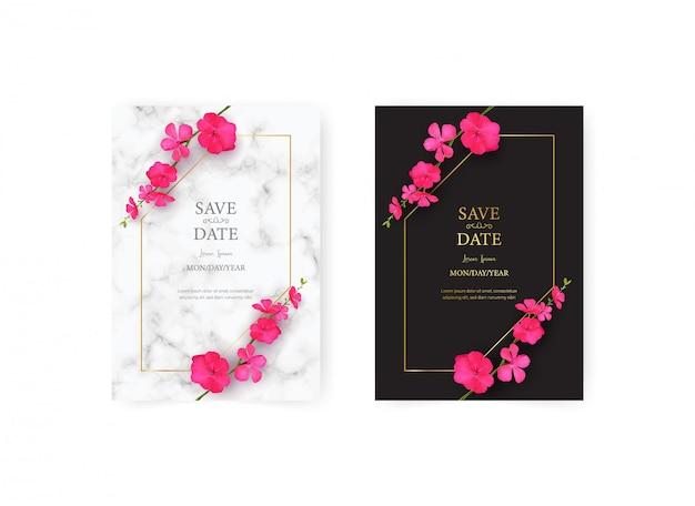 Plantilla de tarjeta de invitación de boda con conjunto realista de hermosa flor rosa