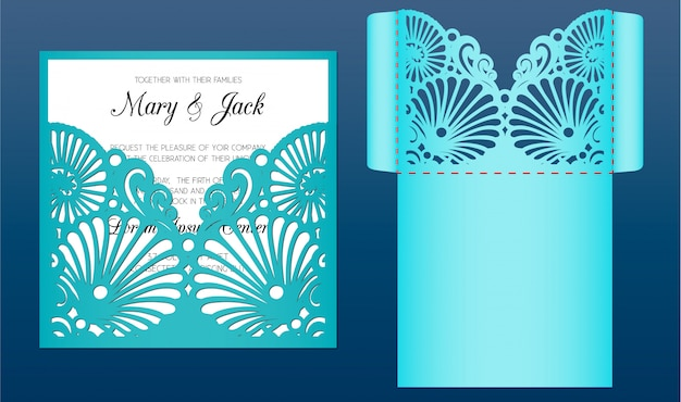 Plantilla de tarjeta de invitación de boda cortada con láser en estilo marinero. sobre de bolsillo troquelado con patrón de conchas marinas. adecuado para tarjetas de felicitación, invitaciones, menús.