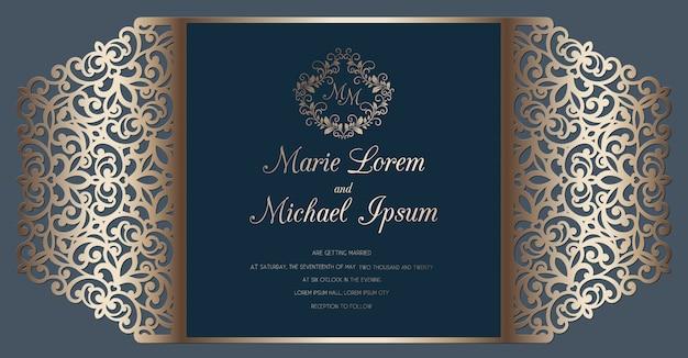 Plantilla de tarjeta de invitación de boda de corte láser. tarjeta de corte de papel con patrón de encaje.