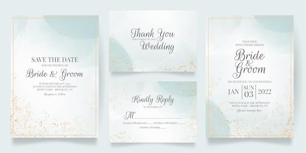 Plantilla de tarjeta de invitación de boda cremosa acuarela con decoración floral dorada