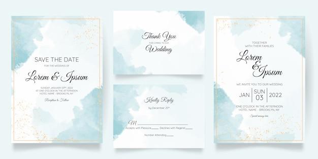 Plantilla de tarjeta de invitación de boda cremosa de acuarela con marco floral dorado