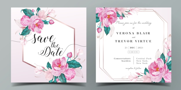 Plantilla de tarjeta de invitación de boda cuadrada en tema de color rosa decorada con flores en estilo acuarela
