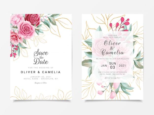 Plantilla de tarjeta de invitación de boda con decoración de brillo floral dorado