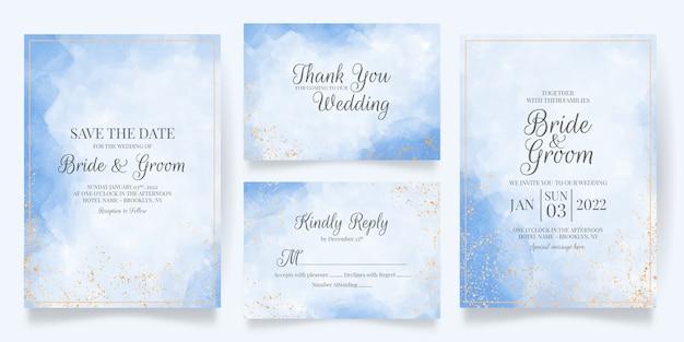 Plantilla de tarjeta de invitación de boda con decoración dorada cremosa acuarela
