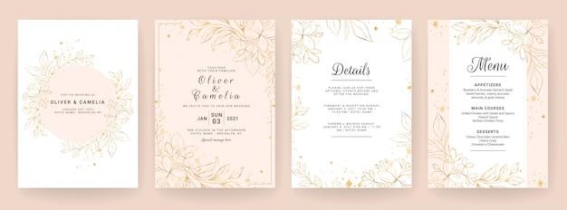 Plantilla de tarjeta de invitación de boda con decoración floral de arte lineal. fondo abstracto guardar la fecha, invitación, tarjeta de felicitación, multiusos