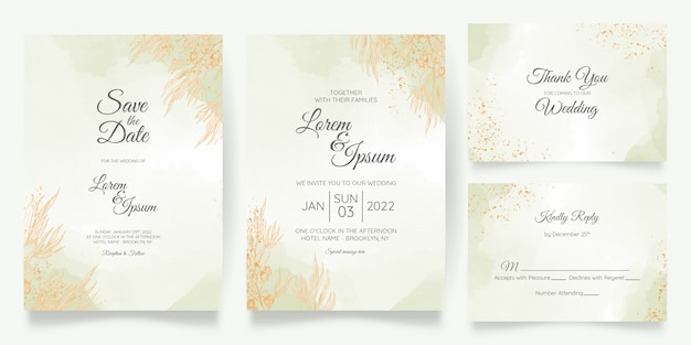 Plantilla de tarjeta de invitación de boda con decoración floral dorada