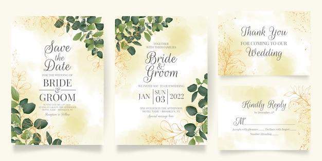 Plantilla de tarjeta de invitación de boda con decoración de hojas de acuarela