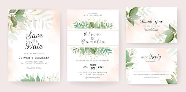 Plantilla de tarjeta de invitación de boda con decoración de hojas doradas