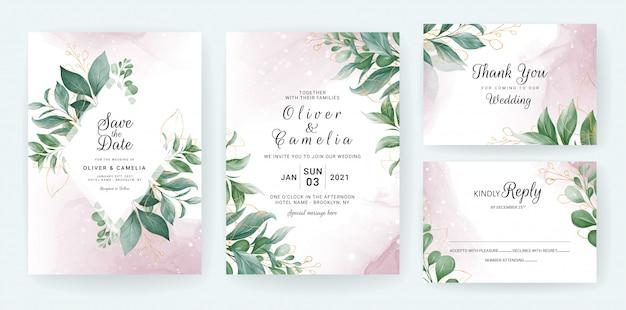 Plantilla de tarjeta de invitación de boda con decoración de hojas de oro acuarela.