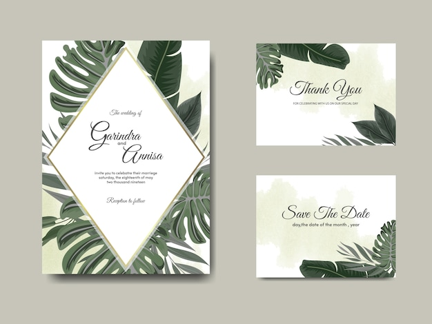 Plantilla de tarjeta de invitación de boda con decoración de hojas tropicales