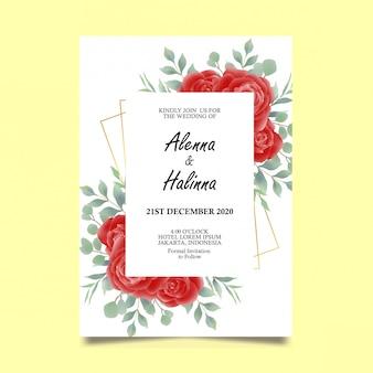 Plantilla de tarjeta de invitación de boda con decoración de rosas rojas de estilo acuarela