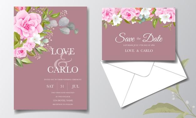 Plantilla de tarjeta de invitación de boda con decoraciones florales de color rosa suave