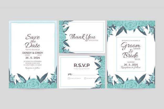 Plantilla de tarjeta de invitación de boda con decoraciones de marco floral acuarela