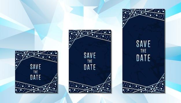 Plantilla de tarjeta de invitación de boda de diamantes de lujo
