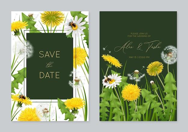 Plantilla de tarjeta de invitación de boda con dientes de león realistas y flores naturales con hojas