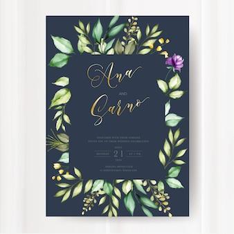 Plantilla de tarjeta de invitación de boda, diseño floral acuarela