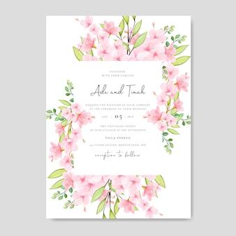 Plantilla de tarjeta de invitación de boda con diseño floral de cerezo en flor