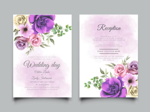 Plantilla de tarjeta de invitación de boda con diseño de ilustración floral colorido