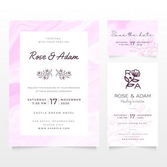 Plantilla de tarjeta de invitación de boda con diseño de mármol líquido rosa