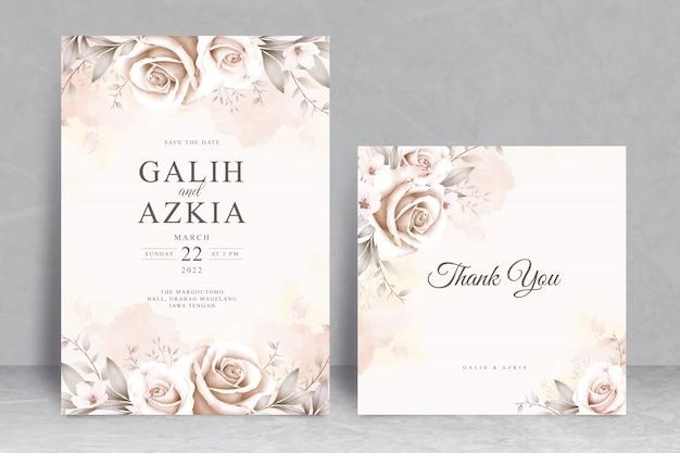 Plantilla de tarjeta de invitación de boda elegante con acuarela floral suave